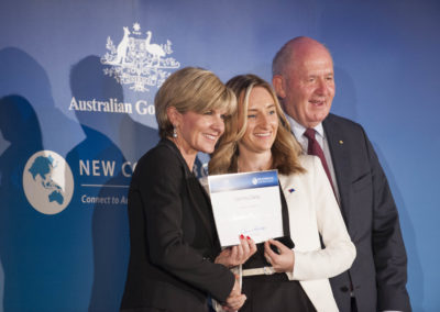 Being awarded a New Colombo Plan Scholarship by Australian Foreign Affairs Minister, Julie Bishop and Governor-General Sir Peter Cosgrove